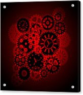 Time Clock Gears Clipart On Red Background Acrylic Print