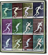 Time Lapse Motion Study Man Running Color Acrylic Print