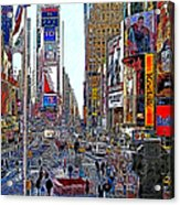 Time Square New York 20130503v8 Square Acrylic Print by Wingsdomain Art and Photography