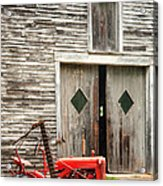 Red Tractor And Old Barn Ossipee New Hampshire Acrylic Print
