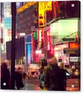 Times Square - Man Walking With Yellow Bag Acrylic Print