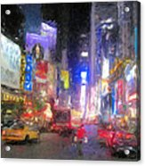 Times Square Street Level Acrylic Print by Bud Anderson