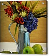 Tin Bouquet And Green Apples Acrylic Print