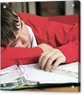 Tired Boy Asleep On His Homework Acrylic Print