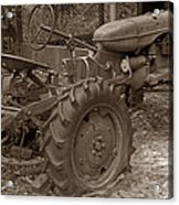 Tired Tractor...... Sepia Acrylic Print