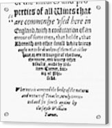 Title Page Wine Book, 1568 Acrylic Print