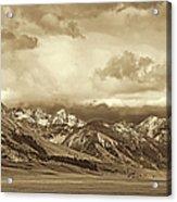 Tobacco Root Mountain Range Montana Sepia Acrylic Print by Jennie Marie Schell