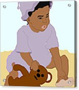 Toddler And Teddy Acrylic Print