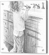 Toddler Brushing Teeth Pencil Portrait  Acrylic Print