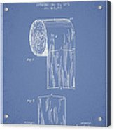 Toilet Paper Roll Patent Drawing From 1891 - Light Blue Acrylic Print