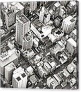 Tokyo City Black And White Acrylic Print