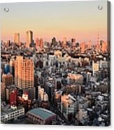 Tokyo Cityscape At Sunset Acrylic Print