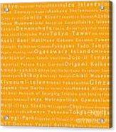Tokyo In Words Orange Acrylic Print