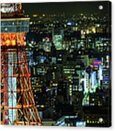 Tokyo Skyline With Tokyo Tower At Night Acrylic Print