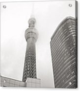 Tokyo Skytree In Clouds Acrylic Print