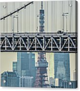 Tokyo Tower And Rainbow Bridge Acrylic Print