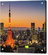 Tokyo Tower Skyscrapers Neon Futuristic Acrylic Print