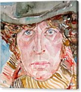 Tom Baker Doctor Who Watercolor Portrait Acrylic Print