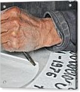Tombstone Engraver At Work Acrylic Print