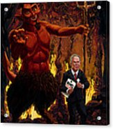 Tony Blair In Hell With Devil And Holding Weapons Of Mass Destruction Document Acrylic Print by Martin Davey