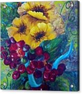 Too Delicate For Words - Yellow Flowers And Red Grapes Acrylic Print