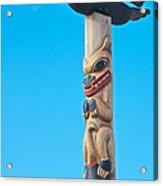 Top Of Totem Pole Near Pedestrian Walkway Along Yukon River In Whitehorse-yk  Acrylic Print