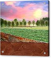 Torn Paper Fields Of Green And Brown Acrylic Print