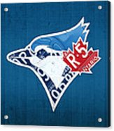 Toronto Blue Jays Baseball Team Vintage Logo Recycled Ontario License Plate Art Acrylic Print