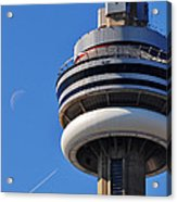 Toronto Cn Tower Moon And Jet Trail Acrylic Print