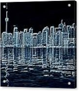 Toronto Skyline In Blue Acrylic Print