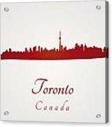 Toronto Skyline In Red Acrylic Print