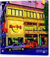 Toronto Street Scene Night Scapes Hard Rock Cafe Downtown Drive By City Lights Canadian Art Cspandau Acrylic Print