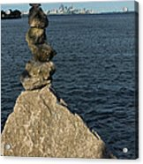 Toronto's Cn Tower Sculpted From Natural Stones Acrylic Print