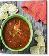 Tortilla Soup With Chips And Fresh Lime On Rustic Wood Backgroun Acrylic Print