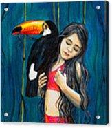 Toucan Girl Acrylic Print