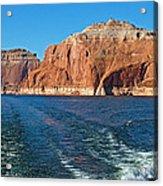 Tour Boat Wake In Lake Powell In Glen Canyon National Recreation Area-utah  Acrylic Print