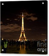 Tour Eiffel At Night With Reflection.  Acrylic Print