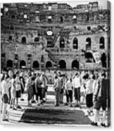 Tour Guide Explains To Group Of British Tourists About Gladiator Pits On The Floor Of The Arena Of The Old Roman Colloseum At El Jem Tunisia Vertical Acrylic Print