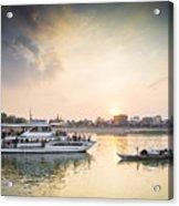 Tourist Boat On Sunset Cruise In Phnom Penh Cambodia River Acrylic Print