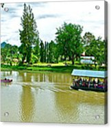 Tourist Raft Being Towed On River Kwai In Kanchanaburi-thailand Acrylic Print