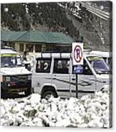 Tourist Vehicles Parked At The No Parking Sign In Sonmarg Acrylic Print