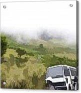 Tourists And Bus Inside The Eravikulam National Park Acrylic Print