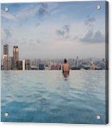 Tourists At Infinity Pool Of Marina Bay Acrylic Print