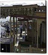 Tourists At The Front Section Of Houseboats Lined Up Along Dal Lake Acrylic Print
