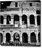 Tourists Exit The Rear Entrance To The Colosseum Rome Lazio Italy Acrylic Print by Joe Fox