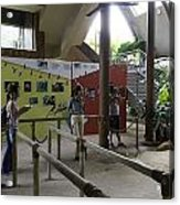 Tourists In A Queue At One Of The Exhibits Inside The Jurong Bird Park Acrylic Print