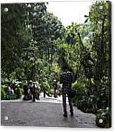 Tourists Inside A Downward Sloping Section In The Orchid Garden Acrylic Print