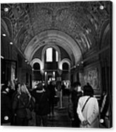 tourists inside the Gedenkhalle memorial hall of Kaiser Wilhelm Gednachtniskirche Acrylic Print by Joe Fox