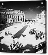 Tourists On The Arena Floor Of The Old Roman Colloseum At El Jem Tunisia Vertical Acrylic Print