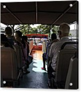 Tourists On The Sight-seeing Bus Run By The Hippo Company In Singapore Acrylic Print by Ashish Agarwal